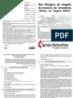 Ato Litúrgico de Resgate Da Memória de Metodistas Vítimas Do Regime Militar - Diagramada Para Impressão