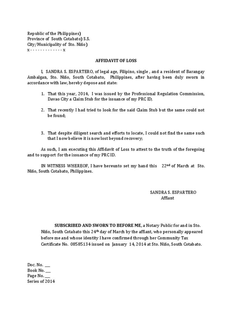 Of lost claim stub affidavit of lost claim stub 1betcityfo Choice Image