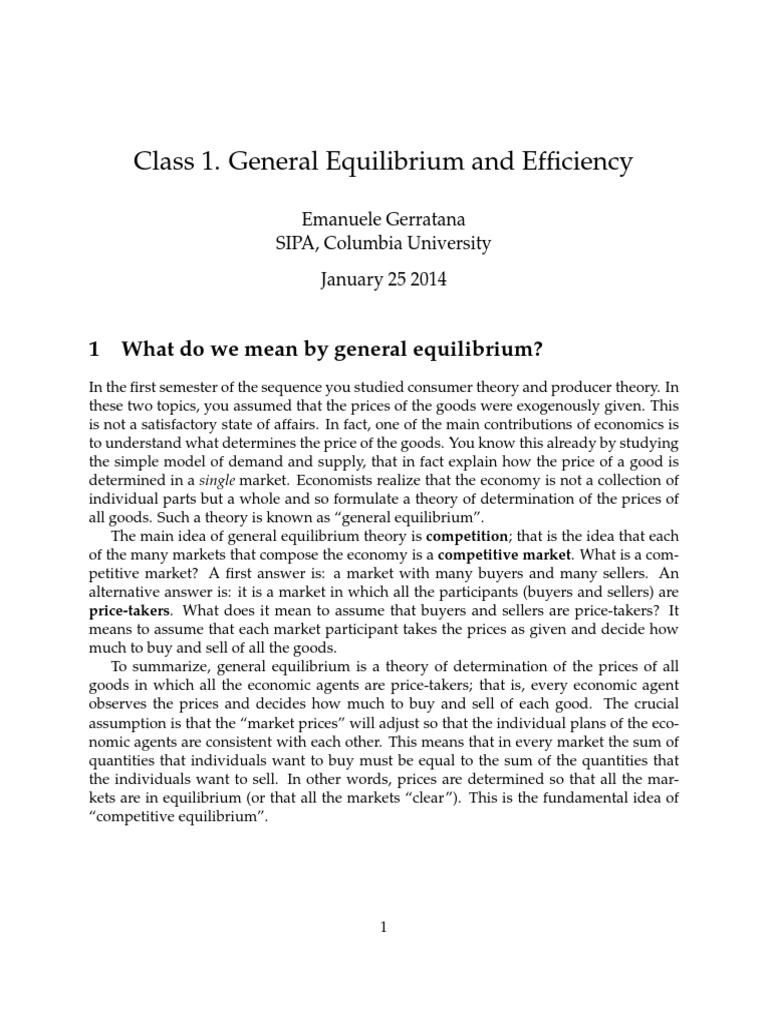 Notes Class 1 General Equilibrium-1 | Welfare Economics ...
