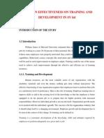 study on effectiveness of  trainingand development