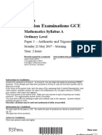 GCE Syllabus A - 01-Mathematics 2007
