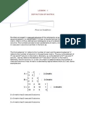 Business Mathematics and Statistics pdf   Matrix (Mathematics