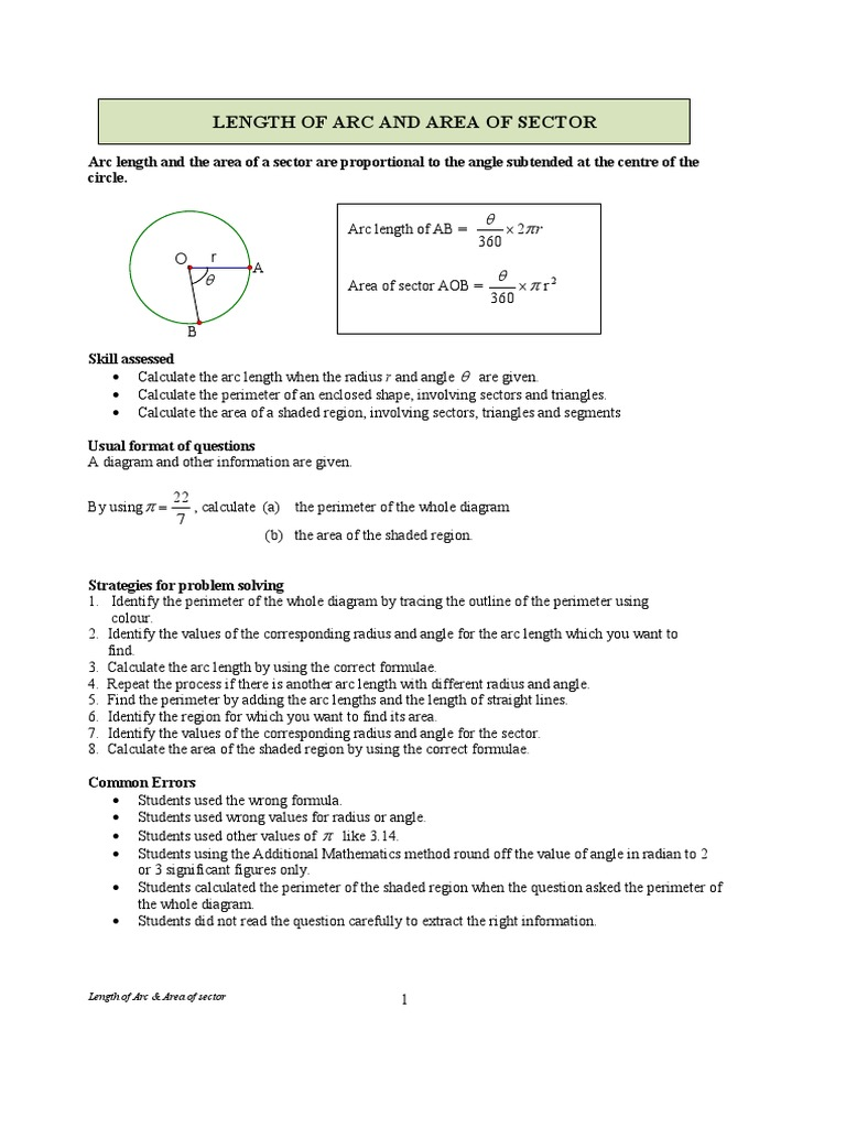 Worksheet Arc Area Of Sectors Angle Circle
