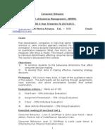 Consumer Behaviour Course Outline 2014-15