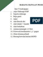 BARANG BAWAAN PESERTA MALAM INAUGURASI 2014.doc
