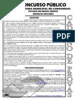 Consulplan 2010 Prefeitura de Congonhas Mg Tecnico de Enfermagem Prova