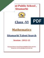 Class VI Maths Sitamarhi Talent Search 2013 1