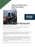 U.S. Intelligence Confirms Pro-Russian Rebels Shot Down Malaysian Plane