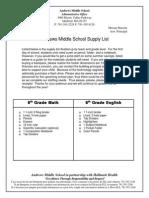 Supply List 7.15.14