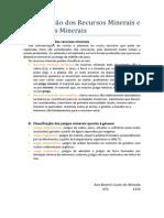 Classificação Dos Recursos Minerais e Dos Jazigos Minerais