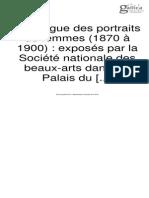 Catalogues Des Portraits de Femmes 1870-1900