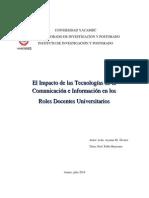 Las Tecnologias de Informacion y Comunicacion en Los Roles Docentes