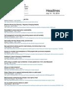 CCA Headlines July 14-18, 2014