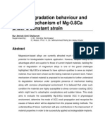 IN VITRO DEGRADATION BEHAVIOUR AND FRACTURE MECHANISM OF Mg-0.8Ca UNDER A CONSTANT STRAIN