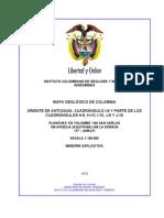 Geología de Parte de Los Departamentos Antioquia y Caldas (Subzona II-B)