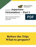 Spring 2014 PreDeparture Orientation I