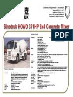 Sinotruk HOWO 371HP 6x4 Concrete Mixer 10 Cubic