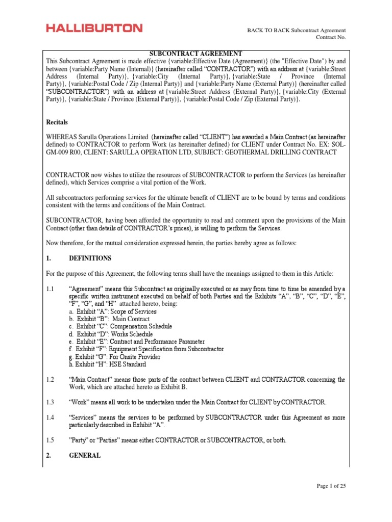 subcontract agreement template docx