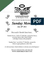 Sunday Lunch Menu 20072014