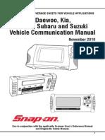 AUS Daewoo, Daihatsu, Hyundai, Kia, Subaru, Suzuki Vehicle Communication Software Manuals