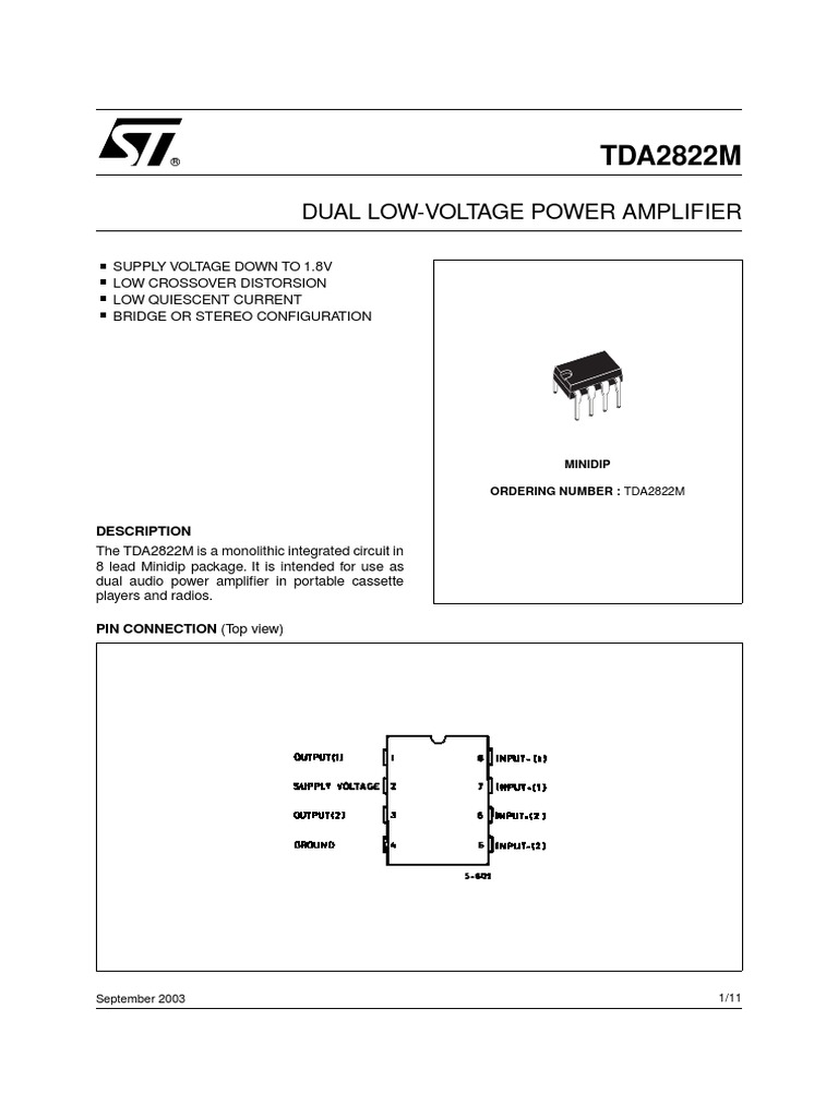 Tda 2822m Distortion Amplifier Stereo Tda2822 Audio Power Circuit