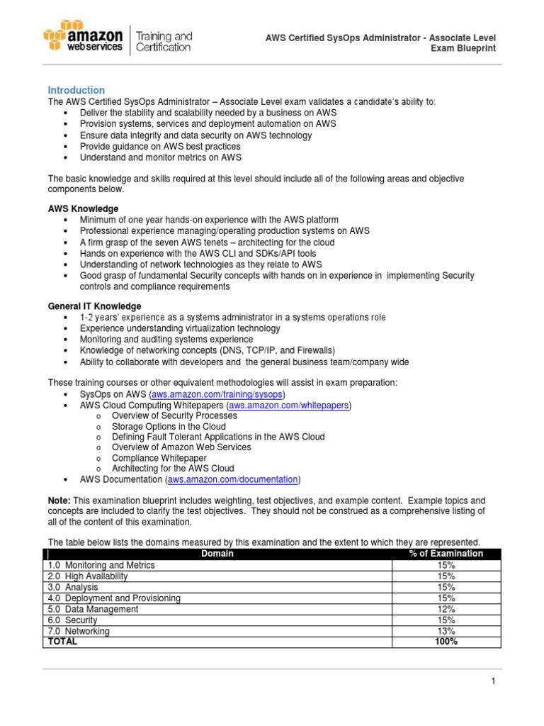 Aws Certified Sysops Associate Blueprint Amazon Web Services