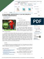 A Improbidade Administrativa e a Lei de Licitações e Contratos Administrativos - Revista Jus Navigandi - Doutrina e Peças1