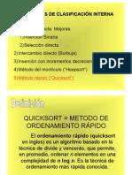 Transparencias del Método de Clasificación Quicksort