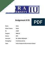 QTA Assignment # 1