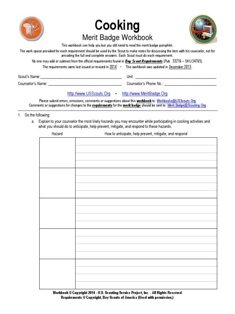 Cooking Merit Badge Workbook | Meal | Boy Scouts Of America