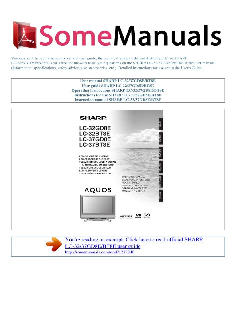 user manual sharp lc 32 37gd8e bt8e e ac power plugs and sockets rh scribd com Help Guide Instruction Manual Book