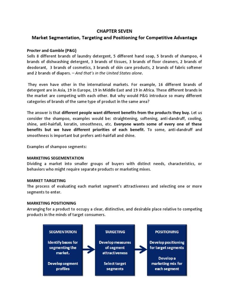Chapter Seven Market Segmentation And Competitive Advantage