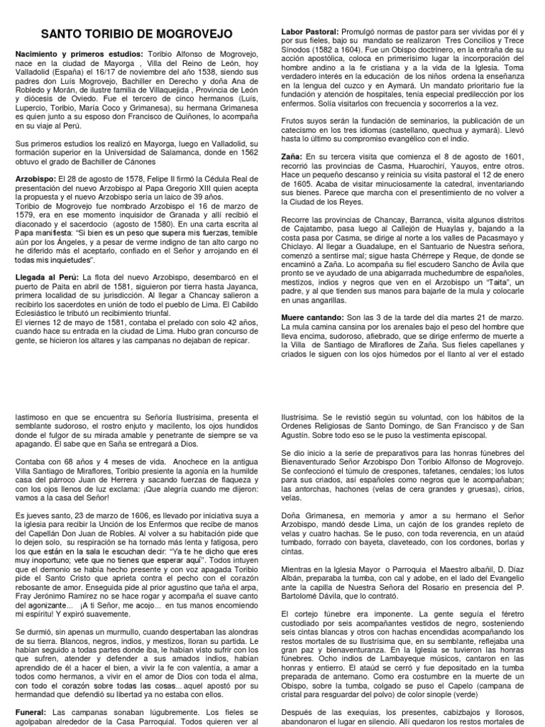 Documento de Santo Toribio de Mogrovejo