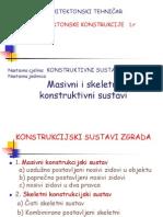 Masivni, Skeletni i Prostorni Konstrukcijski Sustav