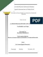 La Descentralización Educativa en Honduras