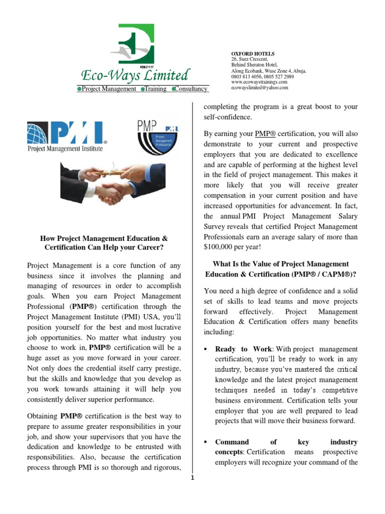 Benefits Of Pmp Certification Professional Certification Project