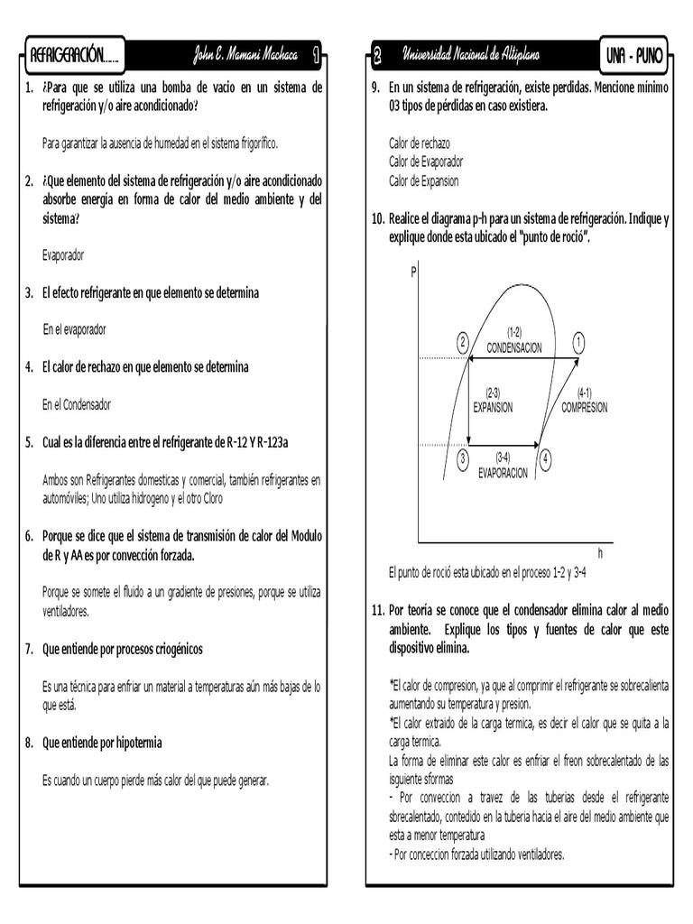 Refrigeracion Y Aire Acondicionado Preguntas De Examen Refrigeración Mecánica De Medios Continuos