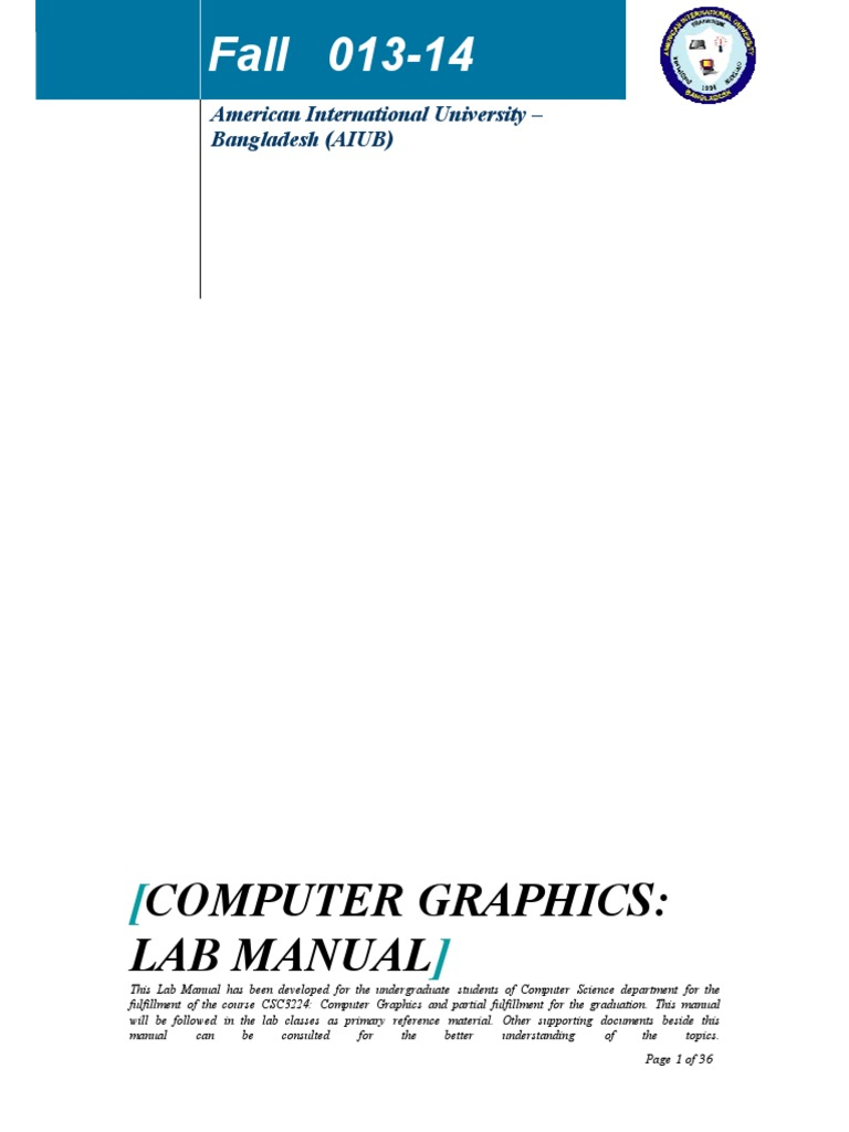 lab manual final computer graphics 2 d computer graphics rh scribd com lab manual of computer graphics in c lab manual of computer graphics in c