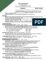 resume tim swanson education