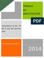 Trabajo de Investigación Artículo 72 Ley Del Servicio Civil