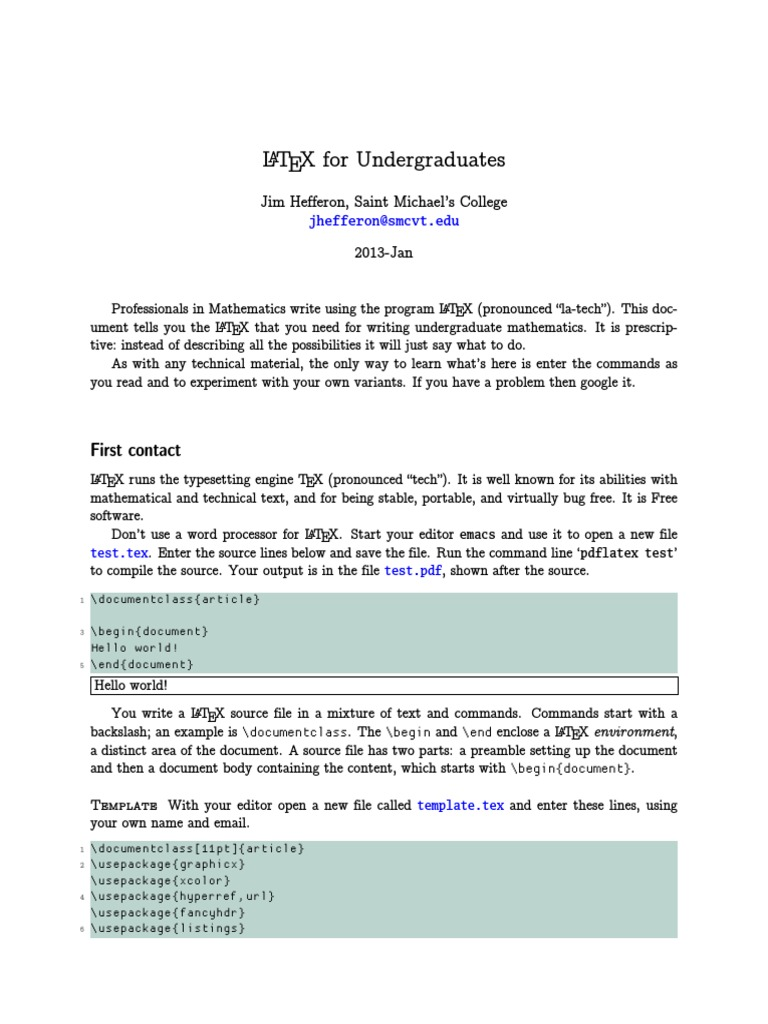 LaTeX for Undergraduates | Hyperlink | Matrix (Mathematics)