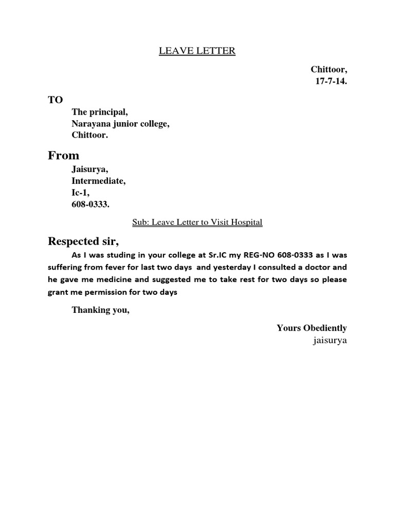 School Leave Letter For Fever Pdf Cover Letter