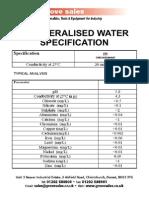DeIonized Water Spec