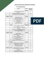 Winter School Draft Examination Timetable