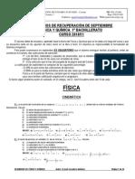 Ejercicios de Recuperacion de Septiembre 2011 de Física y Química de 1º Bachiller