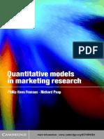 Quantitative Models in Marketing Research