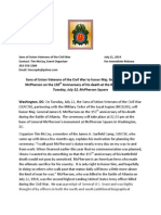 Mcpherson Press Release/Maj. General James McPherson Ceremony July 22, 2014 in Washington, DC
