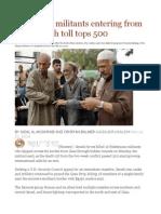 Israel Kills Militants Entering From Gaza Death Toll Tops 500