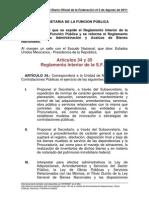 Artículos 34 y 35 Reglamento Interior de La SFP