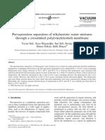 Pervaporation separation of ethylacetate–water mixtures